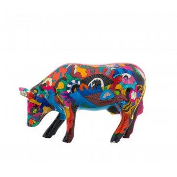 COW PARADE ΔΙΑΚΟΣΜΗΤΙΚΗ ΠΟΛΥΧΡΩΜΗ ΑΓΕΛΑΔΑ ΚΕΡΑΜΙΚΗ COW PARADE PARTYING WITH PI-COW-SSO 16,5cm