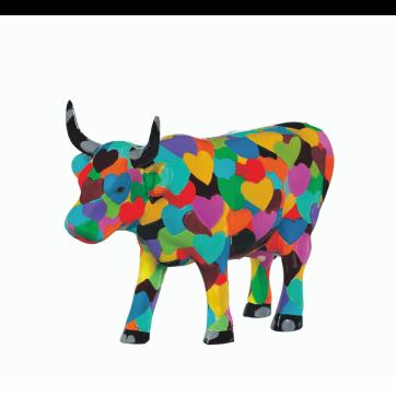 COW PARADE ΔΙΑΚΟΣΜΗΤΙΚΗ ΠΟΛΥΧΡΩΜΗ ΑΓΕΛΑΔΑ POLYRESIN COW PARADE HEARTSTANDING COW 15cm