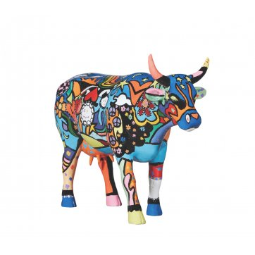 COW PARADE ΔΙΑΚΟΣΜΗΤΙΚΗ ΠΟΛΥΧΡΩΜΗ ΑΓΕΛΑΔΑ POLYRESIN COW PARADE MOOSY IN THE SKY WITH DIAMONDS 30,5cm